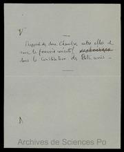 3E018. Examens de 1875 : sujets d-examen, question rapport des deux Chambres entre elles et avec le pouvoir exécutif dans la Constitution des Etats-Unis (non signé)