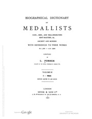 Biographical Dictionary of Medallists, vol. 3 [I-MA]