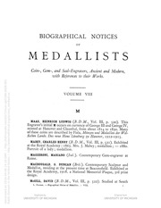 Biographical Dictionary of Medallists, vol. 8 [Supplement, M-Z]