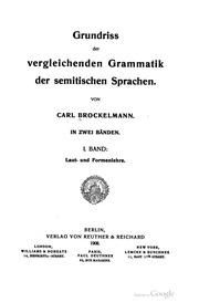 Grundriss Der Vergleichenden Grammatik der semitischen Sprachen