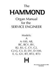 Hammond Organ Service Manual A, A100, AB, BC, BCV, BV, B2, B3, C, CV on