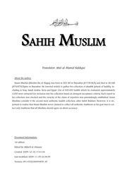 Hadith Sahih Muslim in English : Free Download, Borrow, and