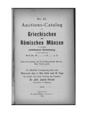 Auctions-Catalog von Griechischen und Roemischen Muenzen