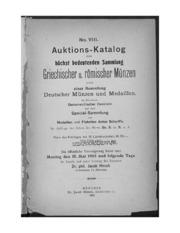 Auktions-katalog einer hoechst bedeutenden sammlung Griechischer u. Roemischer muenzen
