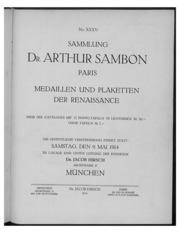 Sammlung Dr. Arthur Sambon, Paris : Medaillen und Plaketten der Renaissance