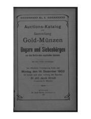 Auctions-Katalog einer Sammlung Goldmuenzen von Ungarn und Siebenbuergen