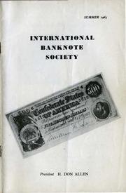 International Bank Note Society Journal (Summer 1963) (pg. 1)