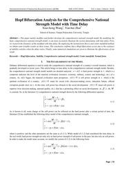 Hopf Bifurcation Analysis for the Comprehensive National Strength Model with Time Delay