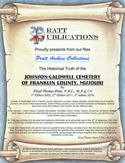 Johnson Caldwell Cemetery Of Franklin County Missouri 3rd Edition 2015 Master Ws