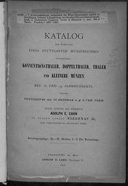 Katalog der Sammlung Eines Stuttgarter Muenzfreundes