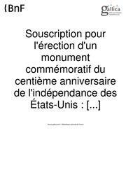 Souscription pour l-érection d-un monument commémoratif du centième anniversaire de l-indépendance des États-Unis