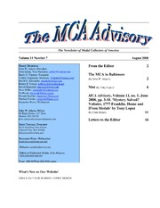 The MCA Advisory, August 2008