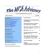 The MCA Advisory, April 2009