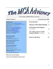 The MCA Advisory, October-November 2009