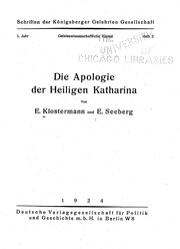 Die Apologie der Heiligen Katharina microform