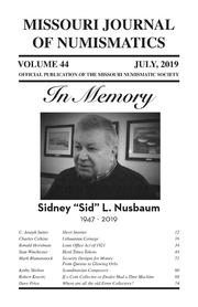 Missouri Journal of Numismatics (2019)