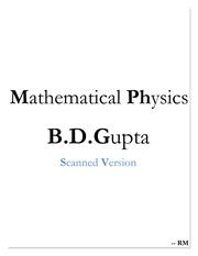 Mathematical Physics B  D  Gupta : Free Download, Borrow