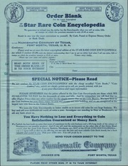 Order Blank...Star Rare Coin Encyclopedia