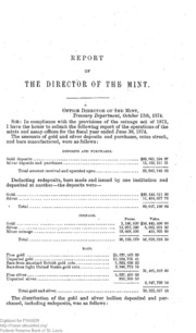 Report of the Director of the Mint