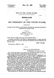 Message from the President of the United States ... A report of the director of the Mint