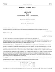 Message from The President of the United States, Transmitting The annual report of the Mint of the United States