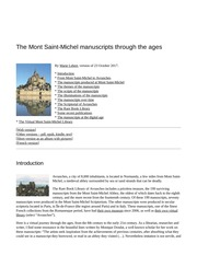 The Mont Saint-Michel manuscripts through the ages