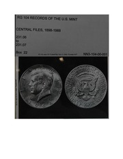 National Archives, Record Group 104, Entry UD, Box 22 (Kenndy Half Dollar)