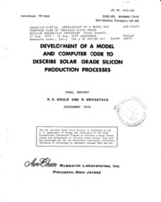 NASA Technical Reports Server (NTRS) 19800023366: Development of a model and computer code to describe solar grade silicon production processes