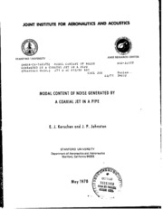 NASA Technical Reports Server (NTRS) 19800024669: Modal content of noise generated by a coaxial jet in a pipe