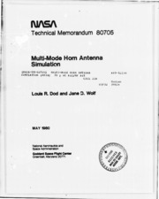 NASA Technical Reports Server (NTRS) 19810003787: Multi-mode horn antenna simulation