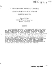 NASA Technical Reports Server (NTRS) 19810006197: A three-dimensional body-fitted coordinate system for flow field calculations on asymmetric nosetips