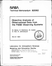 NASA Technical Reports Server (NTRS) 19810014099: Objective analysis of observational data from the FGGE observing systems