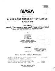 NASA Technical Reports Server (NTRS) 19810018552: Blade loss transient dynamics analysis, volume 2. Task 2: Theoretical and analytical development. Task 3: Experimental verification