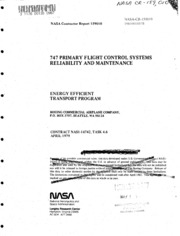 NASA Technical Reports Server (NTRS) 19810018578: The 747 primary flight control systems reliability and maintenance study