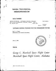 NASA Technical Reports Server (NTRS) 19810022272: Software control program for 25 kW breadboard testing. spacecraft power supplies; high voltage batteries