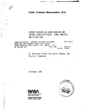 NASA Technical Reports Server (NTRS) 19810024958: Current research on shear buckling and thermal loads with PASCO: Panel Analysis and Sizing Code