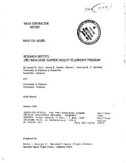 NASA Technical Reports Server (NTRS) 19820009169: The 1981 NASA-ASEE Summer Faculty Fellowship Program: Research reports