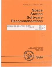 NASA Technical Reports Server (NTRS) 19860013843: Space Station Software Recommendations