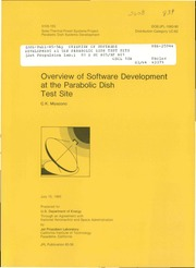 NASA Technical Reports Server (NTRS) 19860015573: Overview of software development at the parabolic dish test site