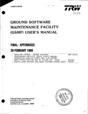 NASA Technical Reports Server (NTRS) 19860015673: Ground Software Maintenance Facility (GSMF) user-s manual. Appendices NASA-CR-178806 NAS 1.26:178806 Rept-41849-G159-026-App HC A05-MF A01