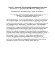 NASA Technical Reports Server NTRS 20140017017: Credibility Assessment of Deterministic Computational Models and Simulations for Space Biomedical Research and Operations