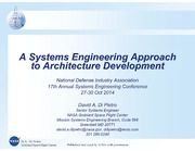 NASA Technical Reports Server NTRS 20140017360: A Systems Engineering Approach to Architecture Development