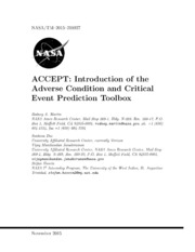 NASA Technical Reports Server NTRS 20150023003: ACCEPT: Introduction of the Adverse Condition and Critical Event Prediction Toolbox