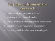 Concepts of Numismatic Research
