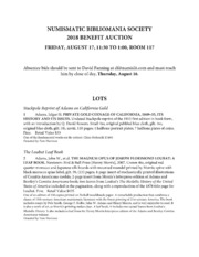 Numismatic Bibliomania Society 2018 Benefit Auction