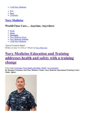Navy Medicine Education And Training Addresses Health And Safety With A Training Change
