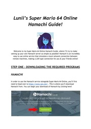 Lunii's Super Mario 64 Online General Setup Hamachi Guide
