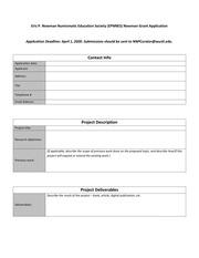 Newman Grant Application (2020)