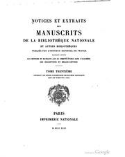 Vol 30:1: Notices et extraits des manuscrits de la Bibliothèque nationale et autres bibliothèques