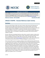Official Joint DHS-FBI Report on Malicious Cyber Attacks originating from Russia JAR-16-20296
